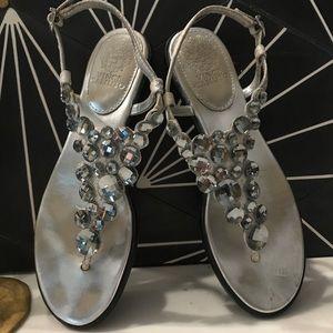 Silver Jeweled Sandal